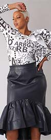 For Her 81916 - Womens Black Faux Leather Design High-Low Hem Skirt With Side Zip