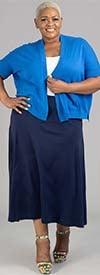 Joan Vass S20B11W-Navy - Womens Knit Maxi Skirt