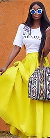 KaraChic 7001S-Yellow - Elastic Waist Skirt