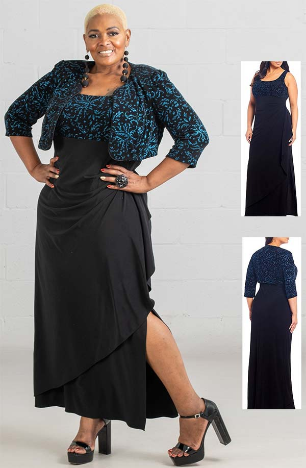 Alex Evenings 84211487W - Ladies Bolero Jacket And Cascade Jersey Dress