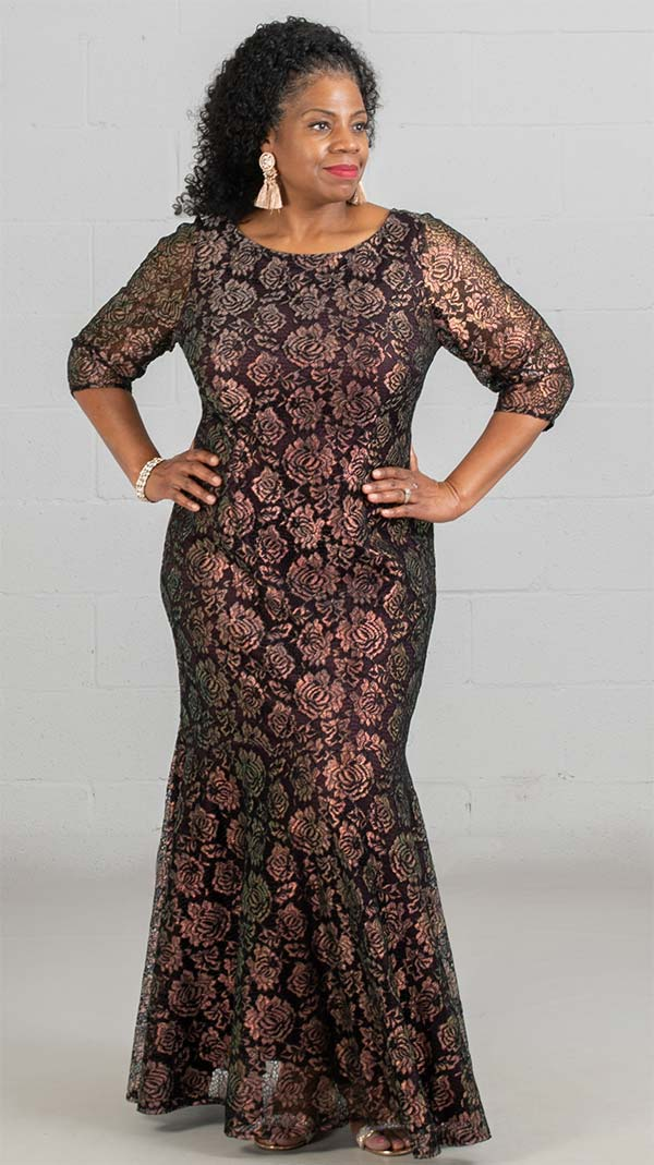 Brianna 2355 - Ladies Glitter Floral Print Lace Dress With Half Circle Skirt
