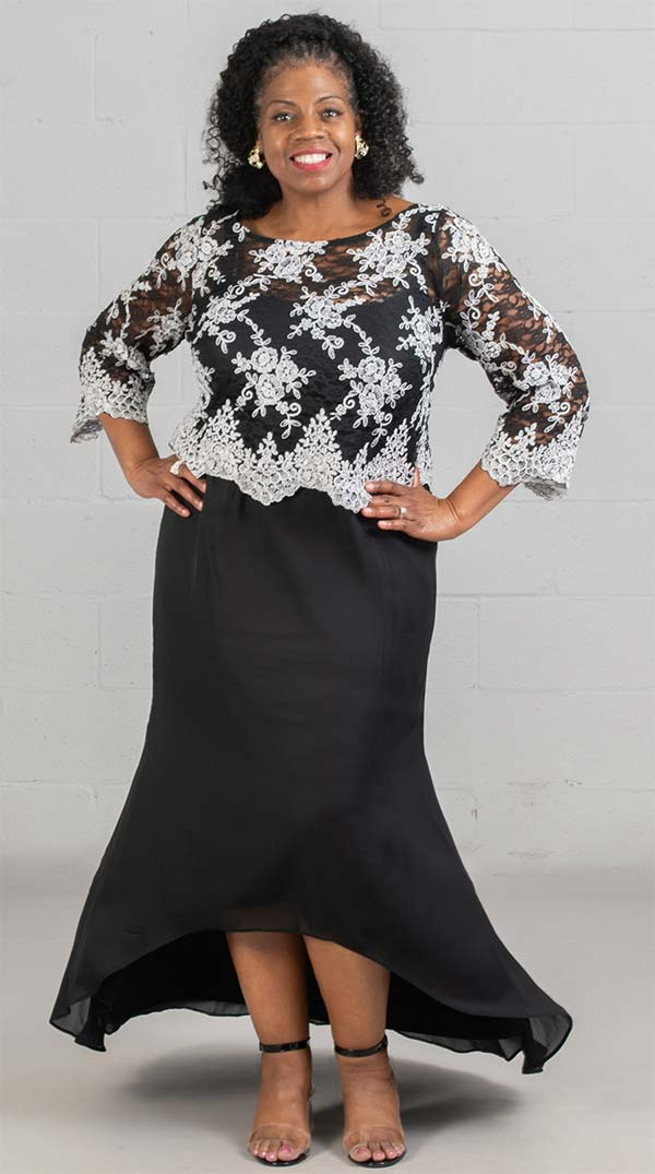 Brianna 2401 - Ladies Floral Lace Overlay Dress With Hi-Lo Skirt