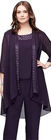 Le Bos 25799W-Eggplant - Three-Quarter Sleeve Scoop Neck Womens Pant Suit