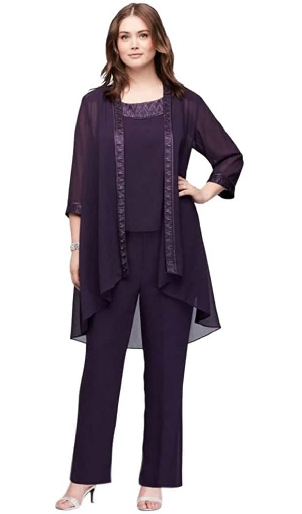 Le Bos 25799W-Eggplant - Three-Quarter Sleeve Scoop Neck Womens Pant Suit