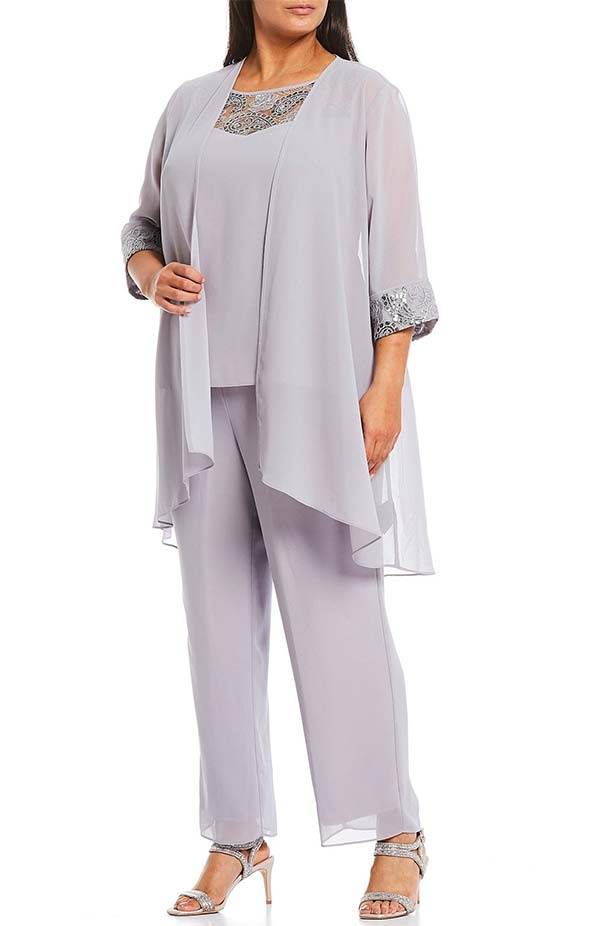 Le Bos 27335W - Three-Quarter Sleeve Womens Pant Suit Accented With Corded Lace