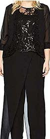 Le Bos 27505W - Three-Quarter Sleeve Womens Pant Suit With Embellished Bodice