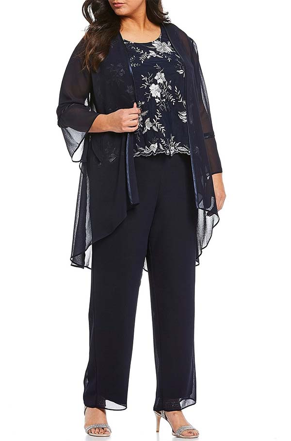 Le Bos 27806MV-W - Three-Quarter Sleeve Womens Pant Suit With Floral Embellished Bodice