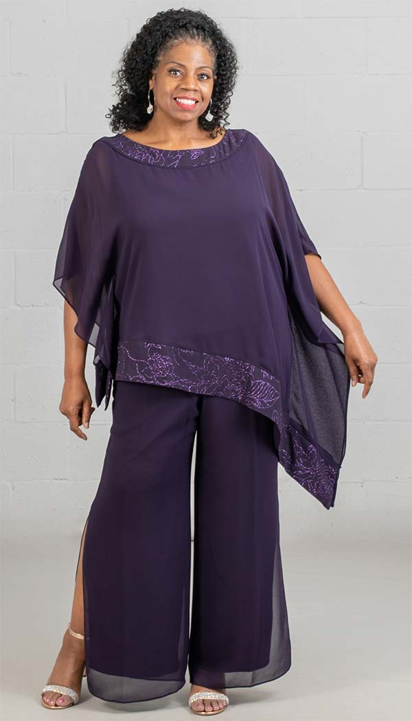 Le Bos 27652 - Womens Chiffon Pant Suit With Asymmetric Style Tunic Top