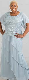 Le Bos 27708W - Womens Flutter Sleeve Tiered Dress With Lace Detail