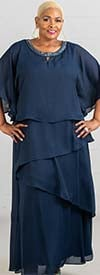 Le Bos 27804W - Womens Tiered Capelet Style Dress With Beaded Neckline Detail