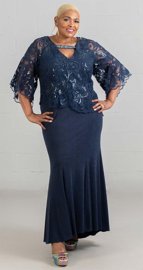 Le Bos 27926W - V-Neck Lace Bodice Womens Mermaid Style Dress