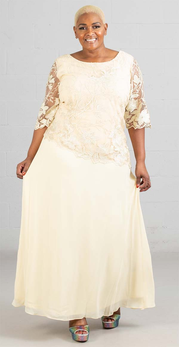 Le Bos 29027 - Chiffon Womens Dress With Embroidered Bodice Overlay
