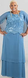Le Bos 29057W - Capelet Style Womens Tiered Chiffon Dress With Embroidered Bodice
