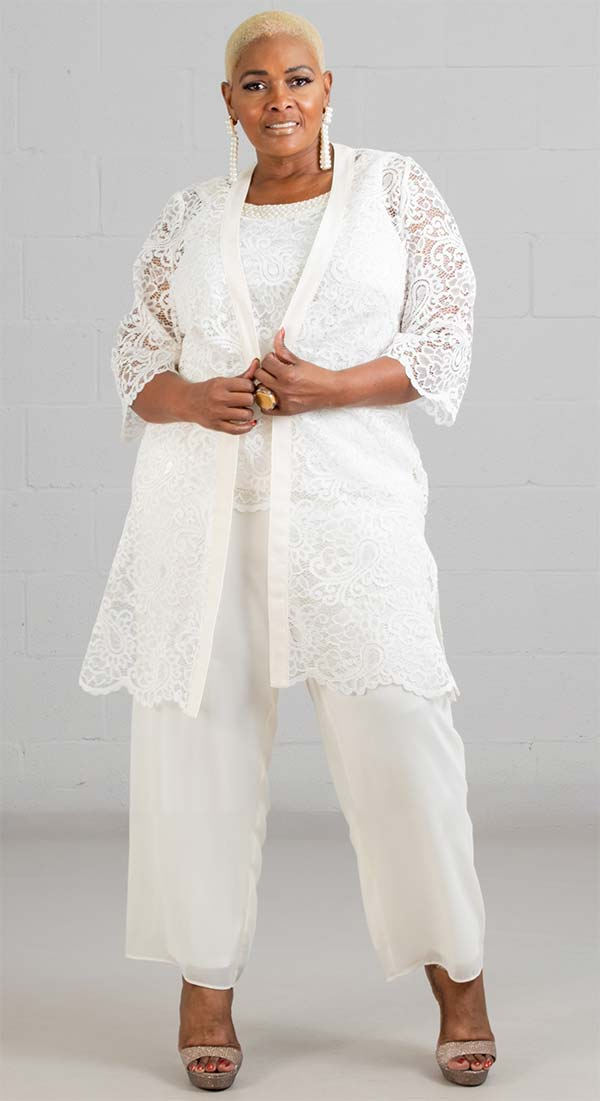 Le Bos 29081 - Womens Pant Suit With Lace Duster And Pearl Trimmed Cami