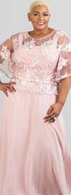 Le Bos 29129 - Womens Chiffon Dress With Embroidered Bodice Overlay