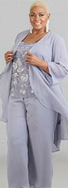 Le Bos 29159  - Womens Pant Suit With Cascading Lapel Chiffon Duster And Lace Cami