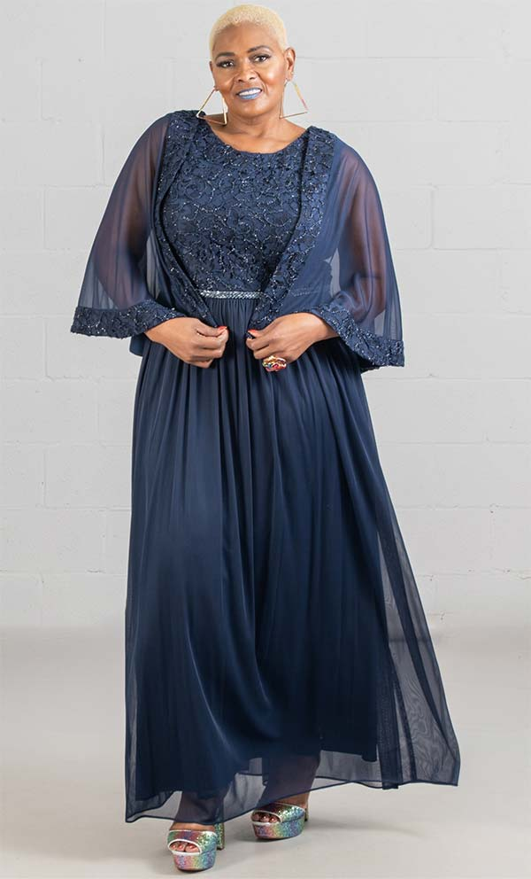Le Bos 29397W - Capelet Style Womens Pleated Chiffon Dress With Beaded Lace Detail