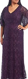 Marina 291783W - Womens V-Neck Dress With Flutter Style Sleeves In Lace Design