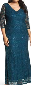 Marina 293560W - Sequin Lace Womens V-Neck Dress With Three-Quarter Sleeves