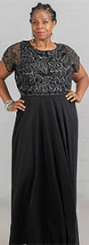 Marina 291093 - Womens Long Dress With Floral Lace Blouson Bodice