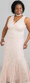 Morgan & Co. 12001WM - Glitter Stretch Lace Trumpet Hem Dress With Scalloped Neckline