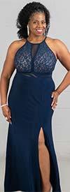 Morgan & Co. 12524WM - Ladies Lace And Mesh Halter Dress With Split Half Circle Skirt