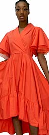 N By Nancy A90006-Orange - Shawl Collar Hi-Lo Womens Dress With Ruffle Hem