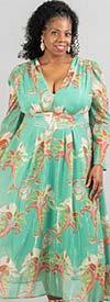 N By Nancy C11257 -  Printed Vee Neckline Longsleeve Georgette Maxi Dress