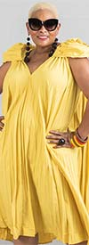 N By Nancy W7887-Yellow -  Pleated A-Line Dress With Rosette Shoulder Details