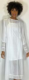 N By Nancy X7136-White -  Sheer Panel Dress With Lace Trim Design