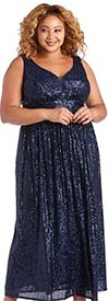 NW Woman by R&M Richards 21923W-Navy - Womens Sequin Embellished Sleeveless Dress