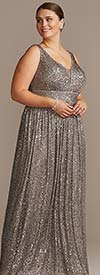 NW Woman by R&M Richards 21923W-Pewter - Womens Sequin Embellished Sleeveless Dress