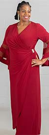 R&M Richards 3641 - Womens Side-Gathered Dress With Sheer Inset Bell Sleeves