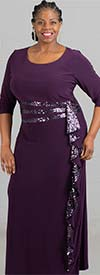 R&M Richards 3780 - Womens Long Dress With Sequin Accented Ruffle Feature