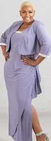 R&M Richards 3808W-Orchid - Rhinestone Trimmed Dress & Bolero Jacket