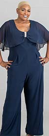 R&M Richards 5412W - Ladies Chiffon Capelet Knit Jumpsuit With Rhinestone Accent