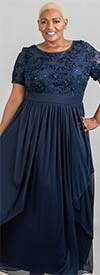 R&M Richards 5516W  - Cascade Style Pleated Knit Dress With Embroidered Soutache Detail