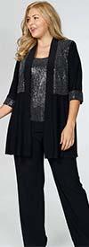 R&M Richards 5817 - Womens Metallic Knit Pant Suit