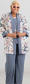 R&M Richards 7102W  - Three Piece Womens Knit Pant Suit With Floral Print Design