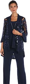 R&M Richards 2343-Navy - Womens Three Piece Pant Suit With Sequin And Mesh Design Jacket