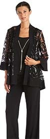 R&M Richards 2343-Black - Womens Three Piece Pant Suit With Sequin And Mesh Design Jacket