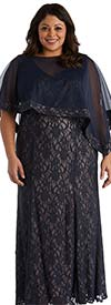 R&M Richards 2347W - Womens Two Piece Chiffon Capelet Style Dress In Lace Design
