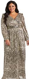 R&M Richards 2462W - Womens V-Neckline Metallic Fabric Dress With Balloon Style Sleeves