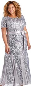 R&M Richards 3645W - Womens Sequin Embellished Sheer Godet Pleat Dress With Sash
