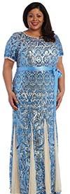 R&M Richards 5048W - Ladies Sequin Embellished Sheer Godet Pleat Dress With Sash