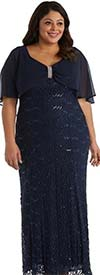 R&M Richards 5673W - Ladies Lace Dress With Embellished Capelet