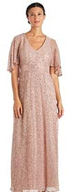 R&M Richards 5712W - Sequin Embellished Womens Special Occasion Dress With Fly-Away Style Sleeves