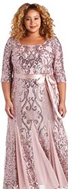 R&M Richards 7085W  - Embellished Womens Sheer Godet Pleat Dress With Three Quarter Sleeves And Sash