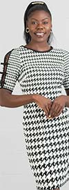 Shelby & Palmer 9P090 - Ladies Houndstooth Pattern Dress With Lace Sleeve Details