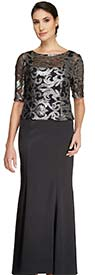 Le Bos 29250W - Womens Dress With Three-Quarter Sleeve Sequin Design Bodice